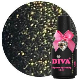 Diva Topcoat Sparkling Gold zonder plaklaag 15ml