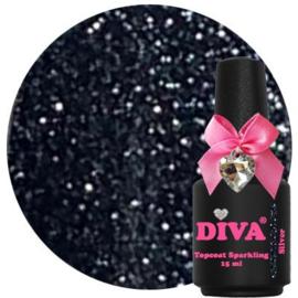 Diva Topcoat Sparkling Silver zonder plaklaag 15ml
