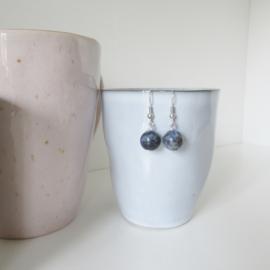 Zilverkleurige sodaliet oorbellen