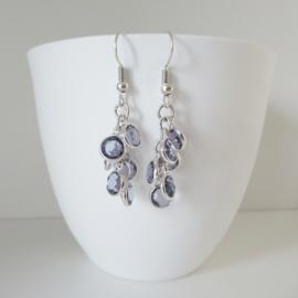 Zilverkleurige blauwe bedel oorbellen
