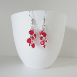 Zilverkleurige rode bedel oorbellen