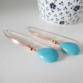 Rosekleurige turquoise oorbellen