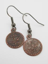 Bronskleurige munt oorbellen