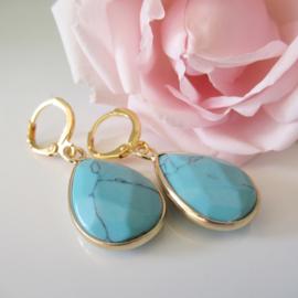 Goudkleurige turquoise clip oorbellen
