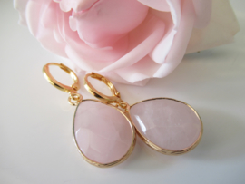 Goudkleurige rozenkwarts clip oorbellen
