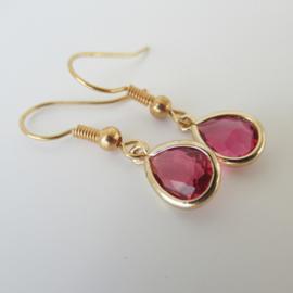 Goudkleurige roze druppel oorbellen