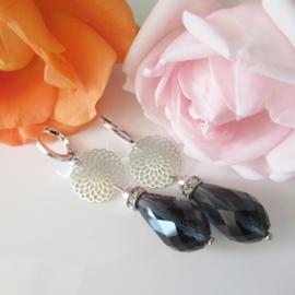 Zilverkleurige blauwe oorbellen