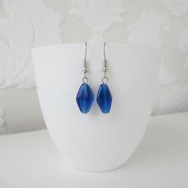 Zilverkleurige oorbellen met blauwe kraal
