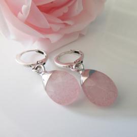 Zilverkleurige rozenkwarts clip oorbellen