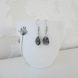Zilverkleurige antraciet druppel oorbellen