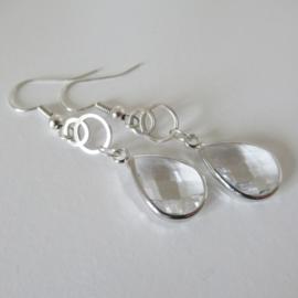 Zilverkleurige druppel oorbellen