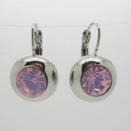 Zilverkleurige klapoorbellen roze