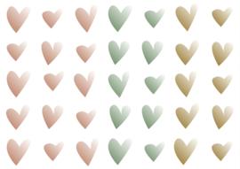Muursticker - kleurverloop hartjes (roze/groen/bruin)