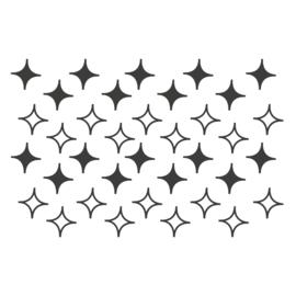 Meerdere kleuren:  sterren vierhoek