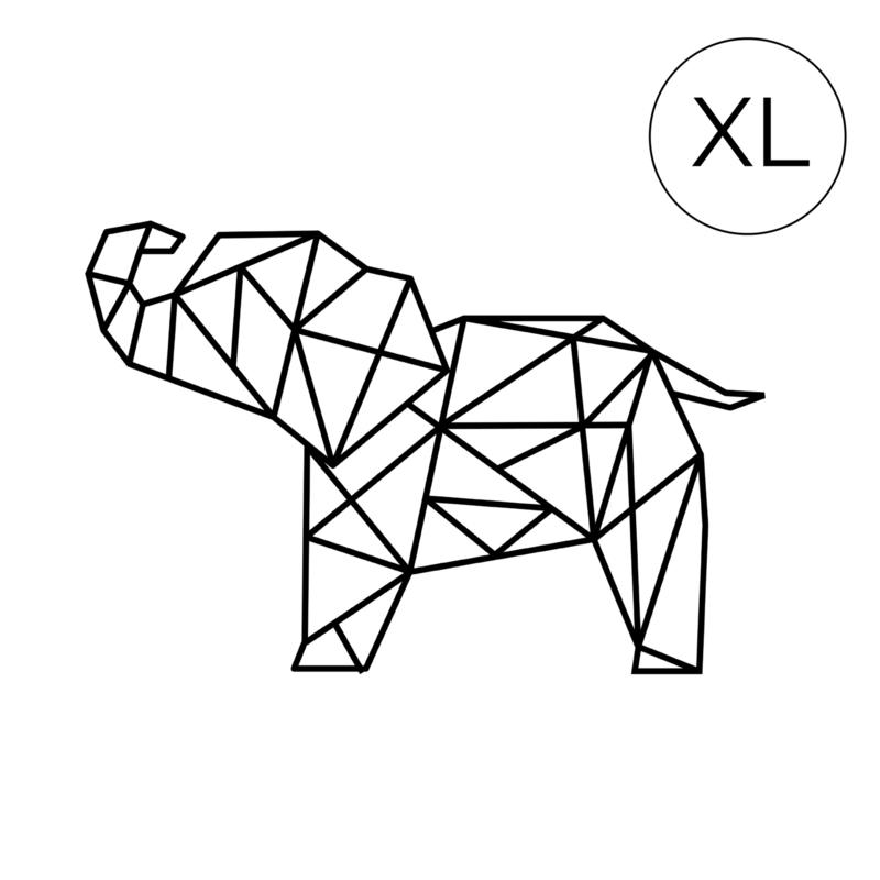 Meerdere kleuren: Olifant XL ( 71cm bij 108cm) slurf omhoog