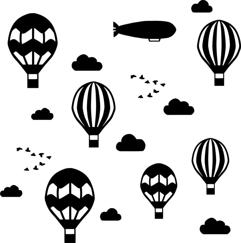 Luchtballonnen, wolken en een zeppelin