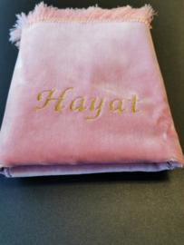 Roze Gebedskleed met naam Hayat