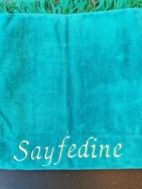 Turqoise Gebedskleed met naam Sayfedine