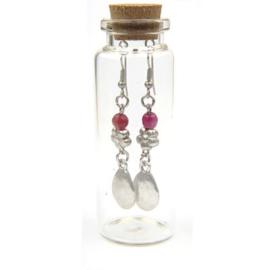 verzilverde oorbellen in flesje PUUR
