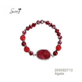 rood armbandje met agaat Sweet7