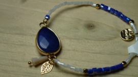 armbandje elastiek naturel blauw Wings Byou