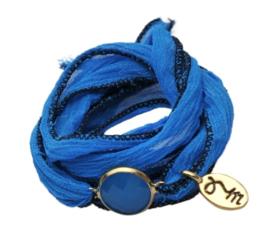 Rakhi zijden armband jaipur blu goud