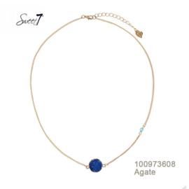 ketting met blauwe agaat Sweet7