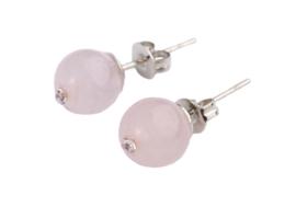 oorbellen met rozenkwarts en stras steentje