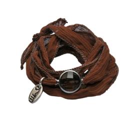 Rakhi zijden armband koffiefontein