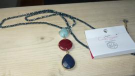 lange blauwe glaskralen ketting candy sweet jewellery