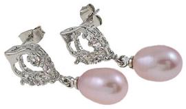 oorbel bling pearl heart pink