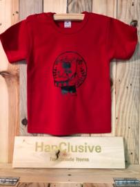 Rode t-shirt met drummer maat 86