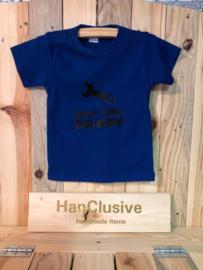Blauw t-shirt just like daddy maat 74