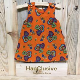 Oranje kleedje met hartjes