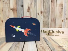 Blauw koffertje met raket