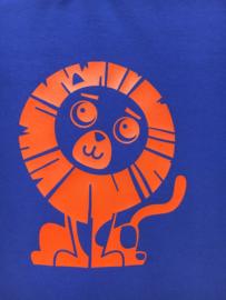 Blauw t-shirt met lange mouwen en leeuw