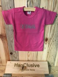 Roze t-shirt met (b)engel maat 62