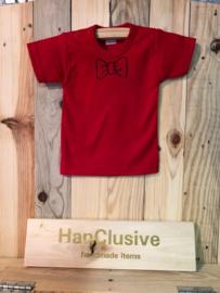 Rode t-shirt met strik maat 56