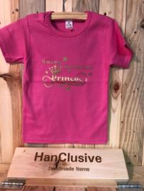 Roze t-shirt met prinses maat 86