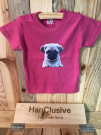 Roze t-shirt met hond maat 74