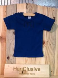Blauw t-shirt met strikje maat 68