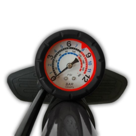 Dunlop Fietsvloerpomp & -meter 12 bar Ht 615 mm hoge dia35mm
