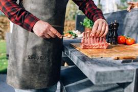 Lederen Schort - Schort Leer - Zwart / Bruin -BBQ schort
