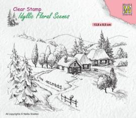 Nellies Choice clearstamp - Idyllic Floral - Winterlandschap IFS026 138x95mm