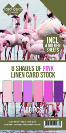Linnencardstock 6 Shades of Pink 13,5 x 27 cm