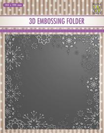 "Nellie Snellen -  3D Embossing folder ""Snowflake frame"" 150x150mm EF3D015"