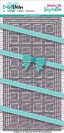 Snijmallen CDSN-0082  DL Slimline kaart 4 Chocolade alfabet carlijndesign