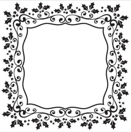 EFE025 Emb. Folders 130x130mm Christmas square holly frame