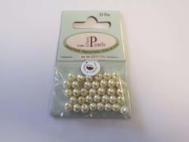 Glass Pearls, round, 6mm, Beige, 35pcs