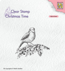Nellies Choice Clearstempel - Christmas time - Vogel op hulst CT032 56x50mm